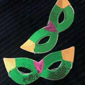 Festive Sequin Masks set of two
